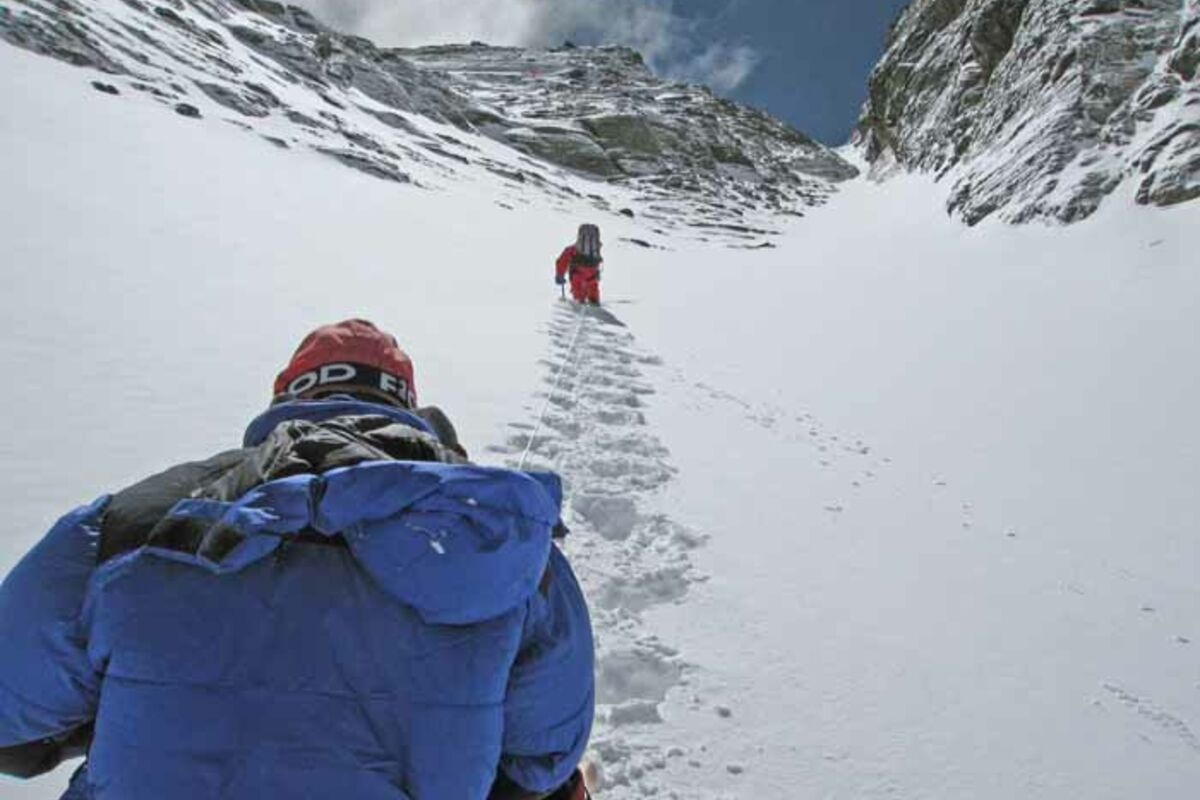Bergsteiger im Lhotse Couloir, Lhotse Expedition, Nepal